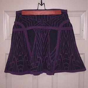 DVF Flote deep purple and black skirt.